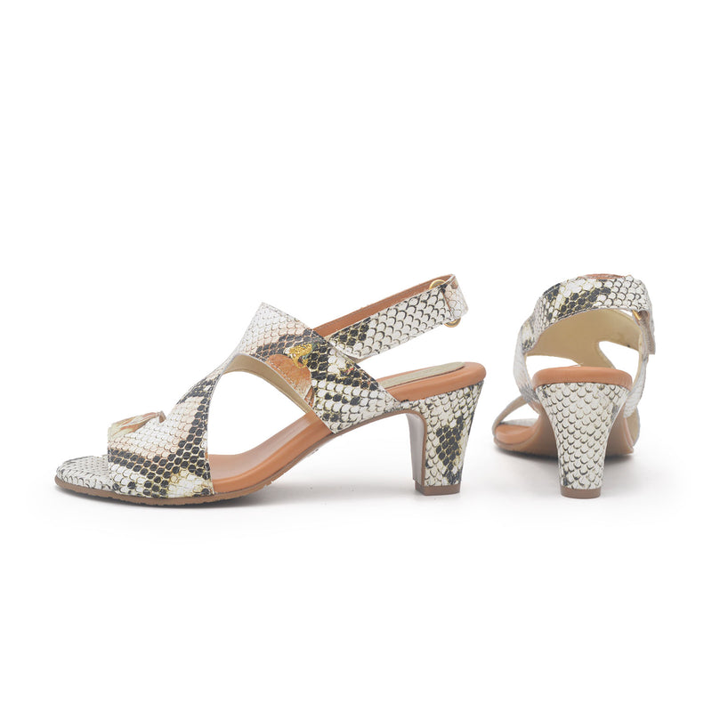 DIANA Natural snake heeled sandal