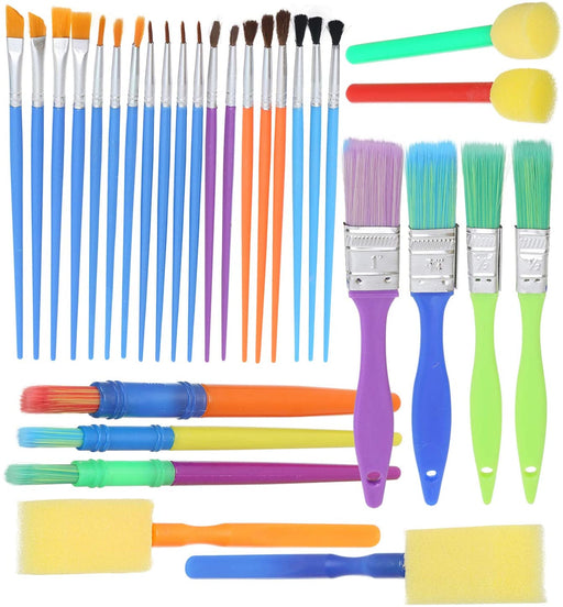 Complete Set of 30 Art Paint Brushes for Kids by Glokers