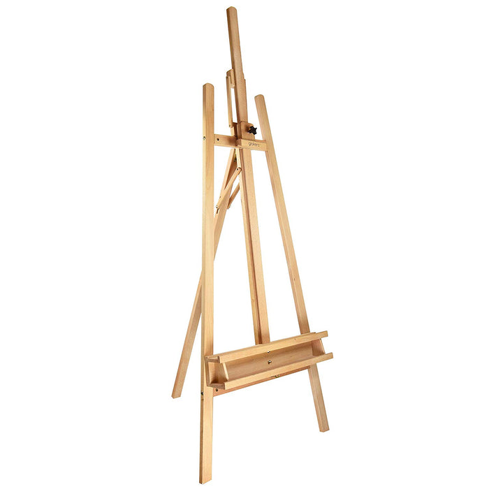Glokers Large Wooden Art Easel - Wood Adjustable Floor Artist Lyre A Frame - Titling Design with Brush Holder - Display Stand for Dry Erase Board, Posters, Whiteboard. Holds Canvas Up To 48 Inches