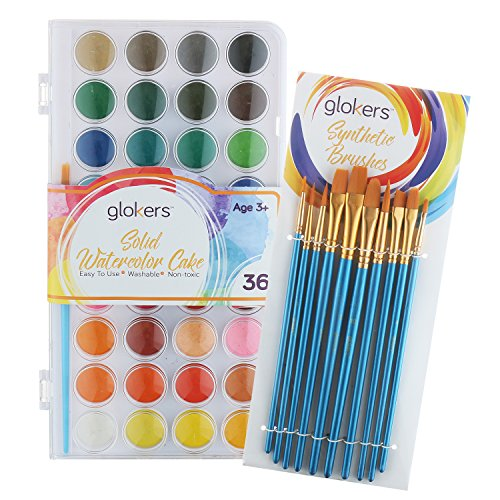 Glokers Watercolor Paint Set, Includes 36 Colors, 10 Professional Paint Brushes. This Watercolor Pan Set is Great for Kids, Beginners, Student, or Professional Artist