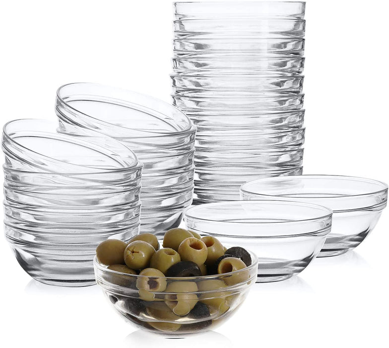 Mini 3.5 Inch Glass Bowls for Kitchen Prep, Dessert, Dips, and Candy Dishes or Nut Bowls, Set of 24