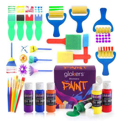28 Piece Kids Learning Paint Set With 6 Colors Paint - Made In The USA