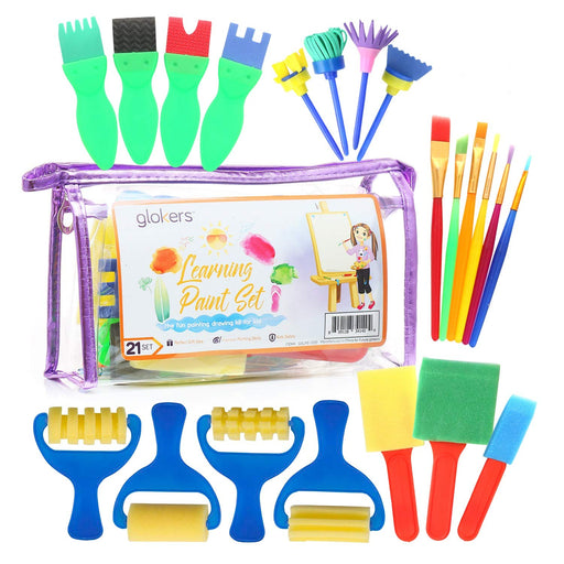 Glokers Early Learning Kids Paint Set, 21 Piece Mini Flower Sponge Paint Brushes. Assorted Painting Drawing Tools in a Clear Durable Storage Pouch