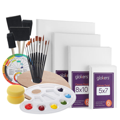 Glokers Canvas Panels Painting Kit, Art Supplies Set Includes Palette, Sponge Brushes, Canvases, Paintbrushes & Mixing Wheel, Great for most paints
