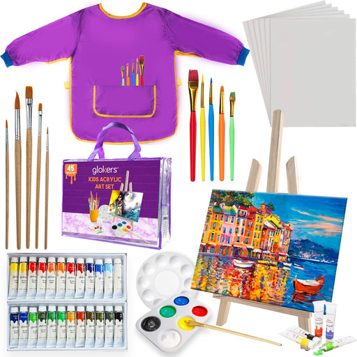 Kids Painting Supplies Set | Arts Set with Acrylic Paints, Easel, Paintbrushes, Canvases, Palettes, Smock & Travel Storage Bag