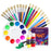 Glokers 20-Piece Kid's Paint Brush Set with Paint Palette and 6 Colors Paint