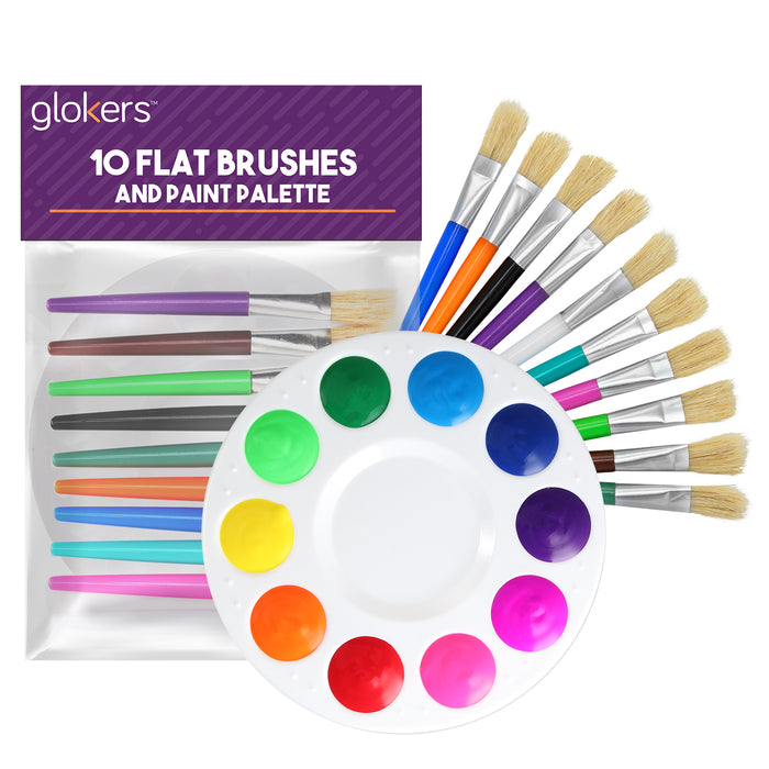 10 Piece Flat Brushes and Paint Palette