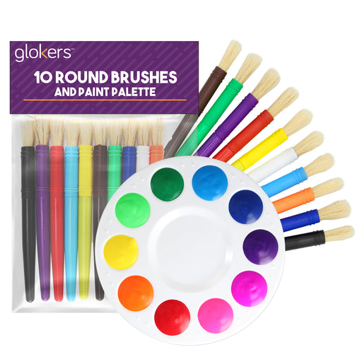 10 Piece Round Brushes with Palette