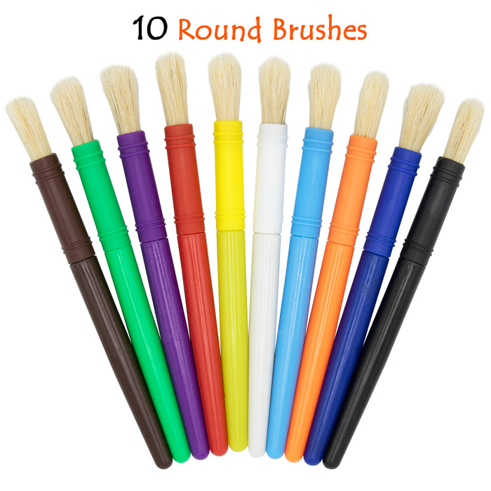 10 Piece Round Brushes with Palette and 6 Colors  Paint Made In The USA
