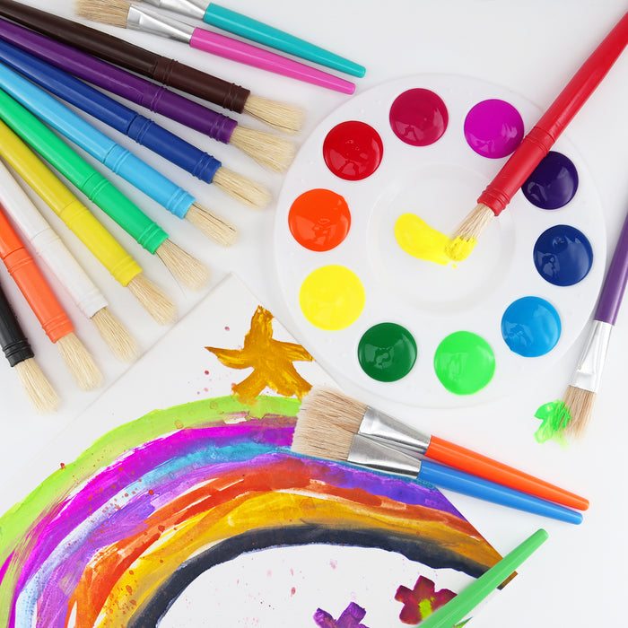 Glokers 20-Piece Kid's Paint Brushes Set with Paint Palette