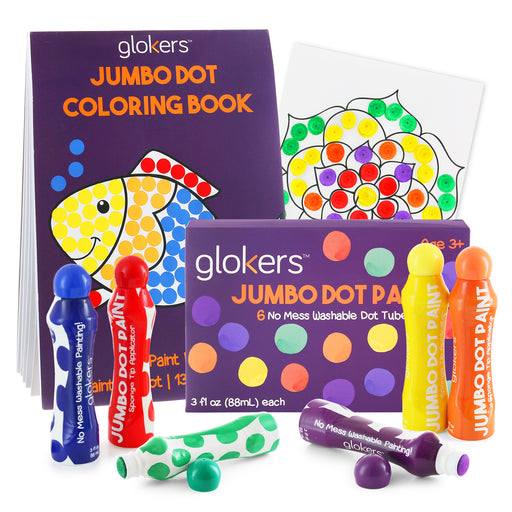 Jumbo Washable Dot Paint Markers and Coloring Book Bundle