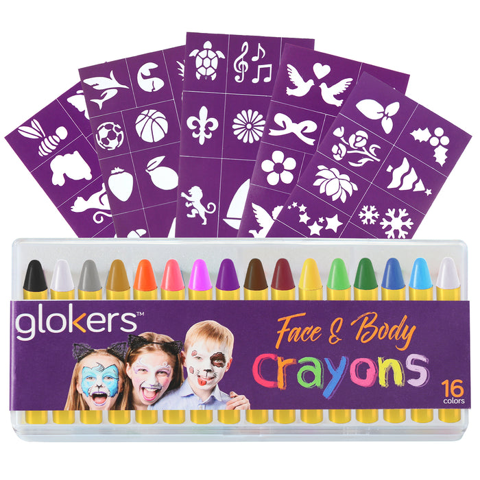 Face and Body Crayons - 16 Colors Set