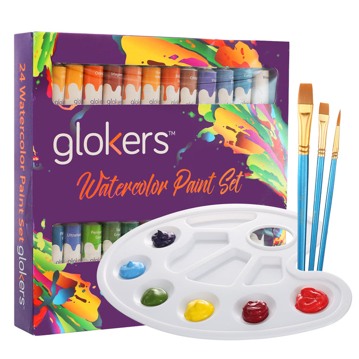 Watercolor Paint Set - 24 Colors 3 Brushes and Palette
