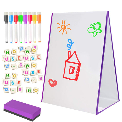 Kids Magnetic Tabletop Whiteboard Easel with Number and Letters
