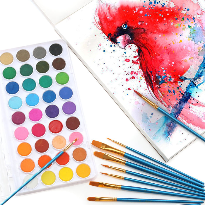 Watercolor Paint Set, Includes 36 Cake Paint Colors, 10 Professional Paint Brushes. This is Great for Kids, Beginners, Student, Professionals.