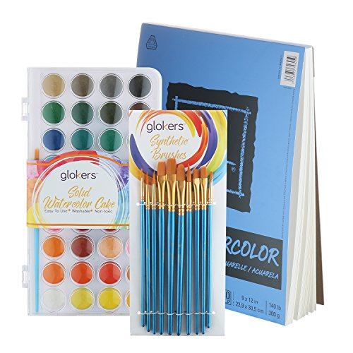 Glokers Watercolor Paint Set Starter Kit | Bundle with Canson XL Watercolor Paper Sketchbook Pad + 36 Solid Cake Colors + 10 Painting Brushes | Professional Artist Quality | Non-Toxic, Safe for Kids