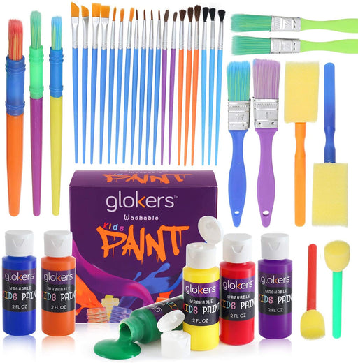 30 Assorted Paint Brushes and 6 Colors Washable Paint - Made In The USA
