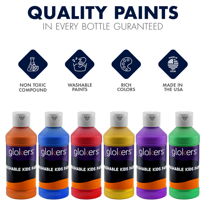 Washable Kids Paint 6 Colors 8 OZ