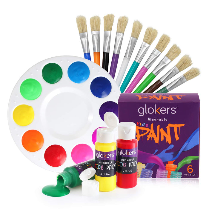 10 Piece Flat Brushes with Paint Palette and 6 Colors Paint Made In The USA