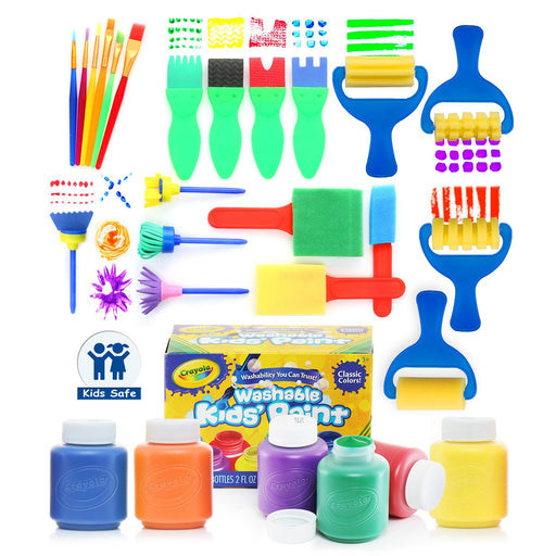 28 Piece Kids Learning Paint Set With 6 Colors Crayola Paint