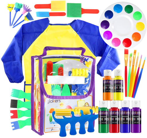 Glokers Early Learning Kids Paint Set, 30 Piece Mini Flower Sponge Paint Brushes. Assorted Painting Drawing Tools in a Clear Durable Storage Pouch. Including 6 Washable Kids Paint Made in USA