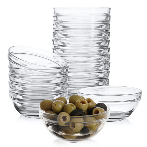Mini 3.5 Inch Glass Bowls 4 oz Capacity - 18 Pack