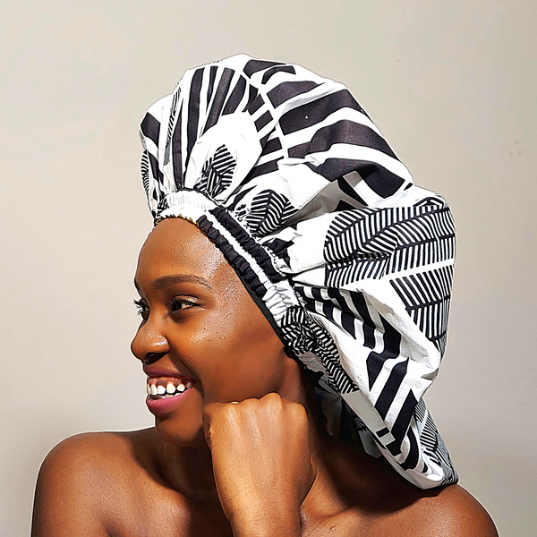 Satin Lined Ankara Bonnet | Snow