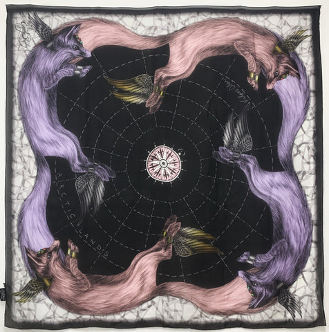 "ES-1044 ""THE LYNX""-A - EMMA SHIPLEY DIGITAL PRINT SILK SCARF. MADE IN ITALY"