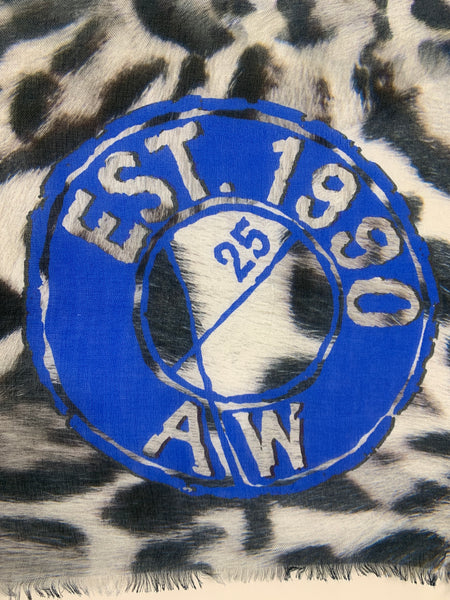 "AW-1030 ""1990"" - BRITISH DESIGNER DIGITAL PRINT CASHMERE MODAL SCARF. MADE IN ITALY"