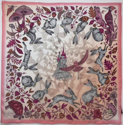 "ES-1048 ""THE FAIRYTALE"" - EMMA SHIPLEY DIGITAL PRINT SILK SCARF. MADE IN ITALY"
