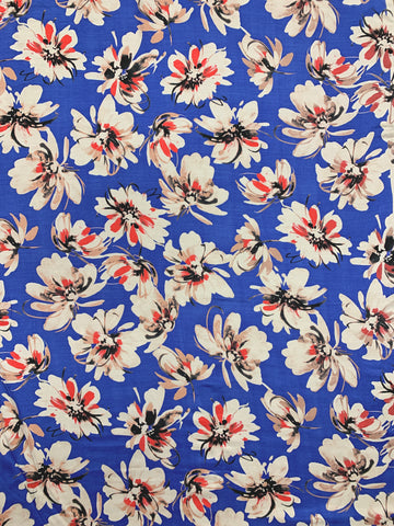 S-7437W CHRYSANTHEMUM FLORAL SILK VISCOSE CHARMEUSE.