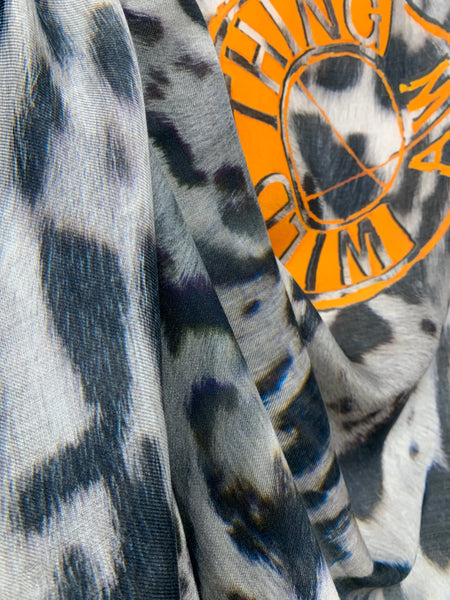 "AW-1029 ""WILD THING"" - BRITISH DESIGNER DIGITAL PRINT CASHMERE MODAL SCARF. MADE IN ITALY"