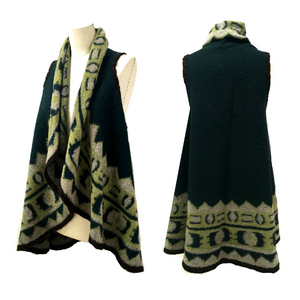 PV-7228W PANDORA - ETHNIC DESIGN BOILED WOOL PONCHO VEST PANEL. ITALY
