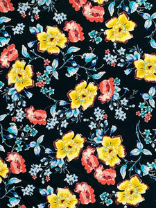 RV-7318W SPRING FLOWER PRINT VISCOSE CREPE HAND. GERMANY