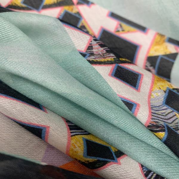 "DS-2010 ""ORIGAMI"" - PETER PILOTTO DIGITAL PRINT CASHMERE MODAL SCARF. MADE IN ITALY"