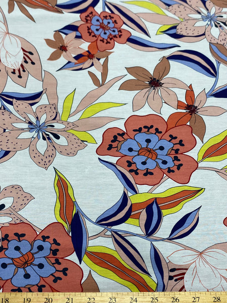 25525 Digital Print Silk Cotton Voile - Made in Italy