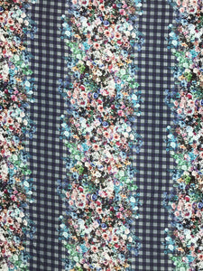WK-7336W DIGITAL FLORAL PLAID PRINT WOOL VISCOSE KNIT. ITALY