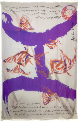 "AW-1042 ""PIECES"" - BRITISH DESIGNER DIGITAL PRINT CASHMERE MODAL SCARF. MADE IN ITALY"