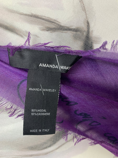 "AW-1039 ""PEACE"" - BRITISH DESIGNER DIGITAL PRINT CASHMERE MODAL SCARF. MADE IN ITALY"