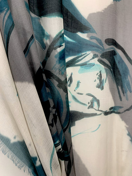 "AW-1037 ""AQUARIUS"" - BRITISH DESIGNER DIGITAL PRINT CASHMERE MODAL SCARF. MADE IN ITALY"