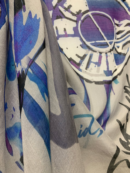 "AW-1043 ""THE EYE"" - BRITISH DESIGNER DIGITAL PRINT CASHMERE MODAL SCARF. MADE IN ITALY"