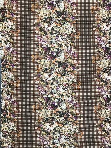 WK-7337W DIGITAL FLORAL PLAID PRINT WOOL VISCOSE KNIT. ITALY