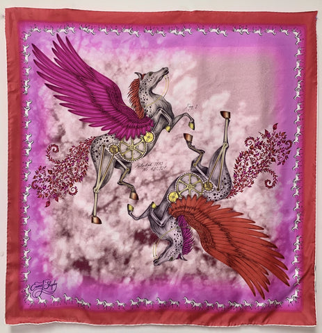 "ES-1046 ""THE PEGASUS""-A - EMMA SHIPLEY DIGITAL PRINT SILK SCARF. MADE IN ITALY"