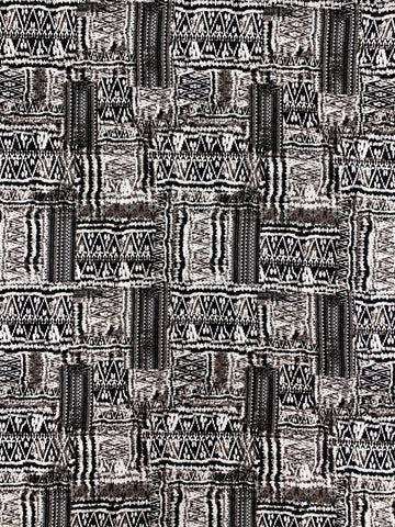 CK-1975W-B ABSTRACT TRIBAL PRINT COTTON KNIT. FRANCE