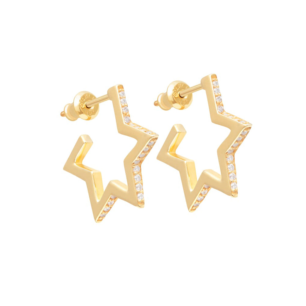 Tada & Toy Crystallised Star Hoop Earrings in Gold