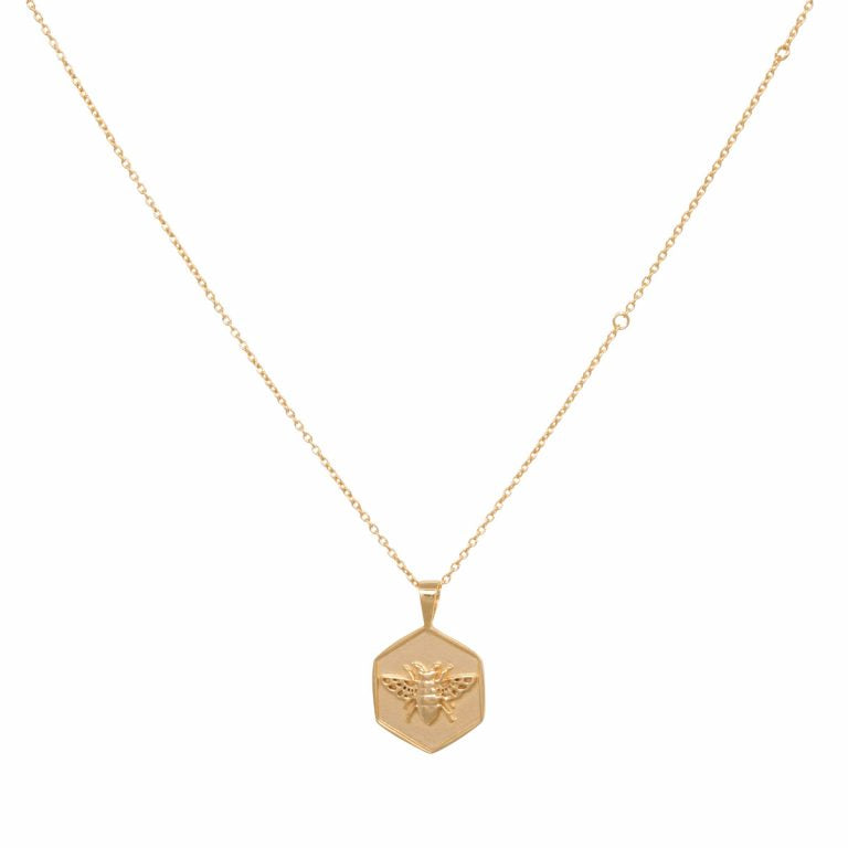 Eline Rosina Bee Pendant Necklace in Gold