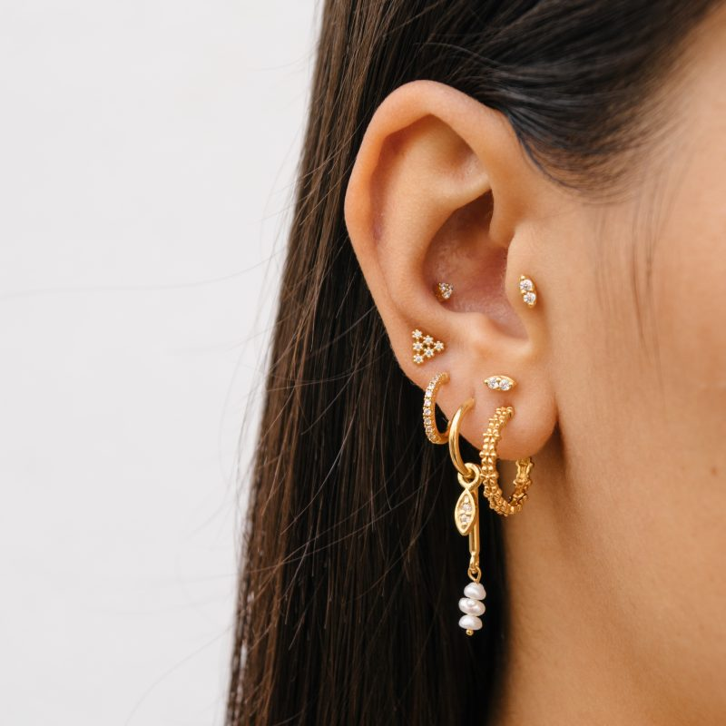 Eline Rosina Medium Zirconia Hoop Earrings in Gold
