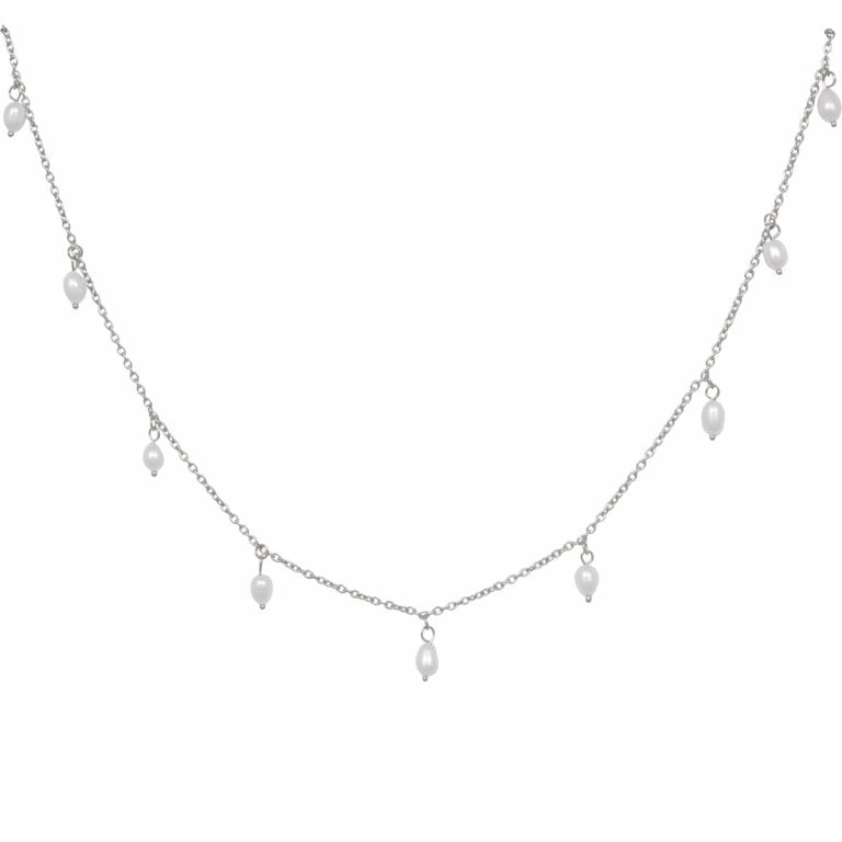 Eline Rosina Multi Freshwater Pearl Necklace in Silver