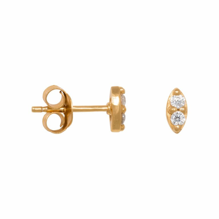 Eline Rosina Oval Zirconia Stud Earrings in Gold
