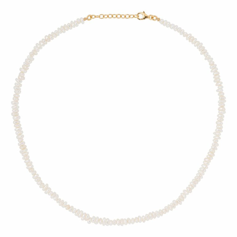Eline Rosina Short Freshwater Pearl Necklace in Gold